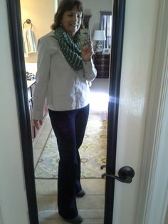 What I wore...Kut blue jeans from Stitch Fix, grey striped shirt from Target, scarf from Target, camisole from Snug.
