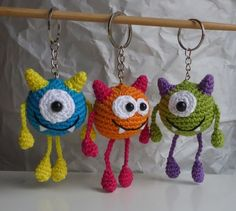 Crochet pattern ball monster keychain The Effective Pictures We Offer You About crochet summer A qua Crochet Amigurumi, Crochet Art, Crochet Gifts, Amigurumi Doll, Crochet Dolls, Crochet Patterns, Crochet Keyring Free Pattern, Crochet Keychain, Crochet Earrings