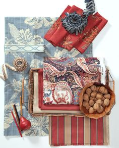 Inspired by the colors of Imari porcelains, these fabrics create a masterful mix in complementary colors of blue and coral. Kali Batik is a jacquard floral, freshened in cornflower blue. It speaks to the paisley print Connoiseur, an allover pattern at the hub of this fabric assortment. Coral reds are featured in Crown Jewel, an embroidered linen-cotton, and in the woven stripe Allegro. Solid textures Ranger Twill and Slubby Linen give the eye a place to rest, an essential element in any…