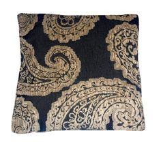 Quality Black & Gold Floral Pattern Woven Tapestry Fabric Cushion Cover