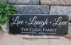 Live Laugh Love Family Last Name Est Date by VillageSignShop