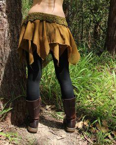 RESERVED Tatty TuTu Crochet Faery Handkerchief Skirt Moss Forest Nymph