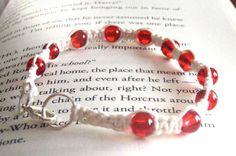 Red Beaded Solomon Bar Bracelet by LaleePops82 on Etsy