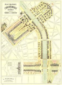 Mapa histórico de #Paris, de 1900, da Exposição Universal