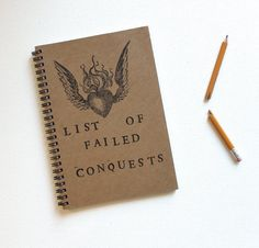 List of Failed Conquests Hand Stamped Spiral Journal Notebook