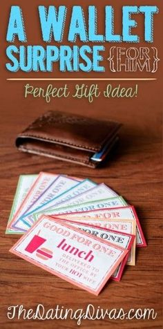 A Gift Idea for Your Husband: Wallet Surprise! Fill His wallet with these fun printables!