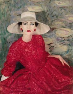 ~Red silk dress, Dior summer collection June 1956 Vogue Magazine~