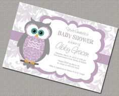 Purple  and gray Baby Shower Themes | Owl Baby Shower Invitations Girl Digital Purple and Gray | Party Ideas