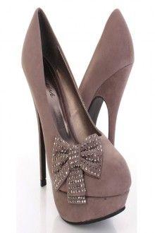 Grey Faux Suede Studded Petite Bow Platform Stiletto Heels Pumps