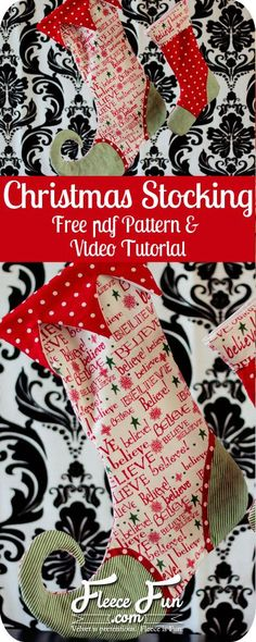 I love this free sewing pattern for a Christmas Stocking.  Plus there's a video tutorial. Christmas Stocking How To on www.fleecefun.com