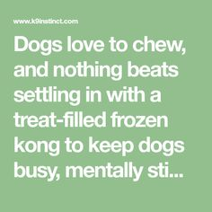 Dogs love to chew, and nothing beats settling in with a treat-filled frozen kong to keep dogs busy, mentally stimulated and happy! Kong toys are perfect for filling with delicious treats and freezing...