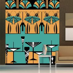 manhattan ladies art deco mural atadesignsatadesigns glass window wall murals sticker wallpaper decal fancy