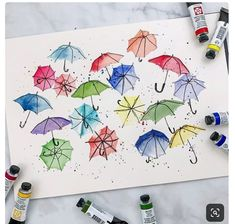 Had a little scrap paper and felt like doodling. Would be cute as a card. Had a little scrap paper and felt like doodling. Would be cute as a card. Watercolor Cards, Watercolor And Ink, Watercolor Illustration, Watercolour Painting, Painting & Drawing, Watercolors, Art Inspo, Happy Paintings, Mail Art