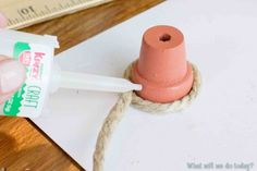 Bee skeps -- wrapped hemp around a small pot using Krazy Glue.  Can use a thimble for a smaller bee skip.