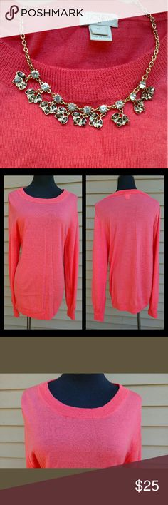 """J.Crew Coral Sweater Crew neck. Thin knit. 50% acrylic 50% merino wool. EUC. Worn only once.  Length: 27.75"""" Pit to pit: 21"""" -measured flat-  ~**~ Bundle & Save ~**~ J. Crew Factory Sweaters Crew & Scoop Necks"""