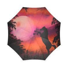 Horse umbrella with red sky moon and black by Traceyleeartdesigns Compact Umbrella, Plant Background, Umbrella Art, Sky Moon, Umbrellas, Art Designs, Horses, Printed, Trending Outfits