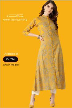This Mustard yellow and blue printed A-line kurta, has a mandarin collar as neck design, Printed Kurti Designs, Simple Kurti Designs, New Kurti Designs, Salwar Designs, Kurta Designs Women, Kurti Designs Party Wear, Indian Kurtis Designs, Dress Designs, Latest Kurti Styles