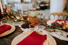 Rustic Wedding CFEC Deor: Lace Runner, Pine Cone, Amber Depression Glass, Gold Charger, Burgundy Napkins P. Gold Chargers, Lace Runner, Tree Lighting, Twinkle Lights, Orange, Pine Cones, Air, Wedding Styles, Real Weddings