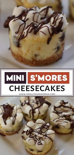 Mini S'mores Cheesecakes are a must-make dessert recipe! These homemade Valentine treats have a grah Healthy Cheesecake Recipes, Best Dessert Recipes, Delicious Desserts, Cheesecake Desserts, Cheesecake Bites, Snack Recipes, Dinner Recipes, Yummy Food, Valentines Day Desserts