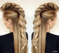 oryginalny warkocz, jak zrobić fryzurę z warkoczem, ciekawe spięcie włosów