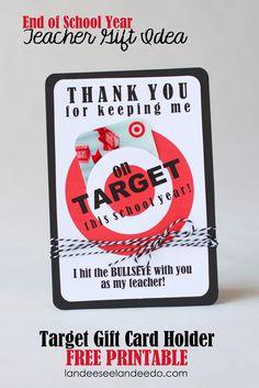 Teacher Gift Idea: Printable Target Gift Card Holder - landeelu.com