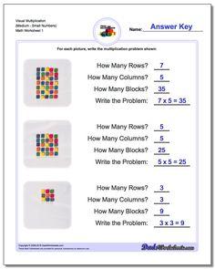 Multiplication Worksheet Visual (MediumSmall Numbers)