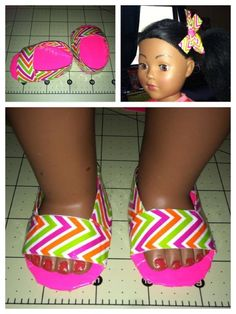 Doll shoes and bow made from duck tape