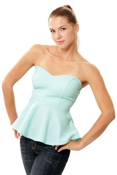 Betty Peplum Tube Top - Mint