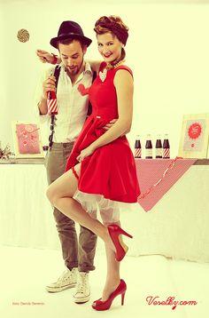 Pin-up wedding, wedding,bride, groom woman, pin up, pin-up, veselky.com, veselky, pin, red, style, dress, flower, wedding flower, hairstyle, 50s, 1950, modern, unusual , couple, photo, image, hat, studio, heart, david severin, jane bond special, love fashion, photo severin, retro, diy, czech republic, simplicity, patern, man, braces, design, czech design