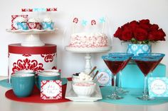 I love these colors together - red and turquoise - makes me want to throw a baby shower or something :)