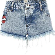 http://www.riverisland.com/women/shorts/denim-shorts/Acid-wash-badge-frayed-denim-shorts--633188
