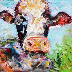 Original Cow palette knife painting Animal Bovine art by Karensfineart