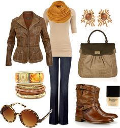 """buttery sun"" by jewhite76 on Polyvore.  Browns & Tans with Blue Jeans.  Jacket, Sweater, Scarf, Purse & Boots"