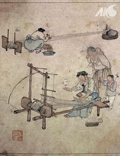 Painting of a weaving scene, by Danwon Kim Hong-do - everyday life of Joseon Korea
