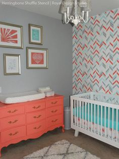 herringbone Wall Stencil love the color scheme - gray, coral and sea blue