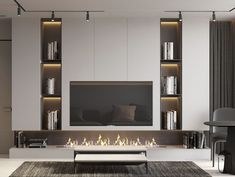 Interior Design,Visual Effects,Architecture Home Living Room, Interior Design Living Room, Home Room Design, House Design, Living Room Tv Unit Designs, Tv Wall Design, Home Fireplace, Luxurious Bedrooms, Behance