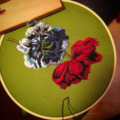 Et voila , #flower no.2 finished and ready to go onto the bigger picture! #embroidery #broderie #bordado #stickerei