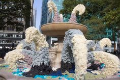 """As part of the Campaign for Wool's """"Wool Uncovered"""" installation, the Bryant Park fountain was drained, and then filled and draped with colorful wool. Sea Party Food, Installation Art, Art Installations, Event Decor, Event Ideas, Beach Meals, Nautical Party, Under The Sea Party, Fountain"""