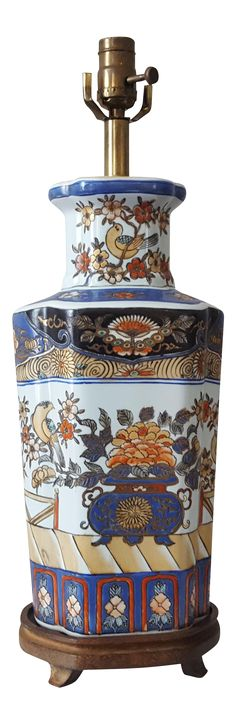 Vintage Chinoiserie Porcelain Lotus Blossom Table Lamp on Chairish.com