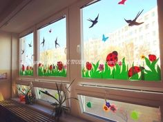 Window paint in summer Class Board Decoration, Decoration Creche, Diy For Kids, Crafts For Kids, School Decorations, Window Art, Classroom Decor, Classroom Board, Classroom Window Decorations