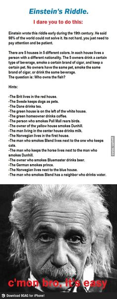 Einstein's riddle.  Honestly, I scrolled down the comments to find the answer.