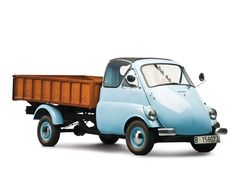"""okay, I'm a tad confused here. BMW made the Isetta """"bubble car"""" which was a 3 wheeled vehicle, with the single wheel at the back and a front hinged door. Who then came up with the crazy idea of giving it 4 wheels and making it into a pick up? Microcar, Classic Trucks, Classic Cars, Bmw Isetta, Weird Cars, Transporter, Cute Cars, Small Cars, Car Humor"""