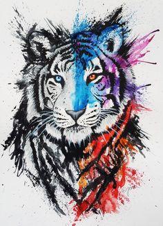 Тигр, акварель, тату
