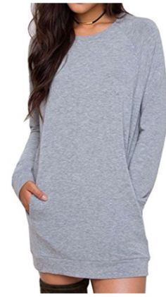 Joeoy Womens Gray Casual Long Sleeve Mini Sweatshirt Dress PulloverXL ** For more information, visit image link. Casual Dress Outfits, Night Outfits, Sweatshirt Dress, One Piece, Sweatshirts, Long Sleeve, Womens Fashion, Sleeves, Sweaters