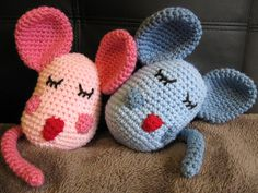 "Cuddly Mice - Free Amigurumi Crochet Pattern - PDF Format - Click to ""download"" here: http://www.ravelry.com/patterns/library/cuddly-mice"