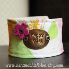 Happy Girl Vintage Fabric Chick Cuff Bracelet by HenandChicksToo, $22.00