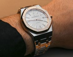 """Audemars Piguet Royal Oak 15400SR Two-Tone Watch Hands-On - on aBlogtoWatch.com """"The release of Audemars Piguet's Royal Oak in a two-tone configuration is as forward looking as it is retro. While the big story at SIHH 2015 out of the AP camp is the acoustically exceptional RD1, it was a subtle makeover of the already impressive Royal Oak Reference 15400 that really snagged my attention..."""" #SIHHABTW"""