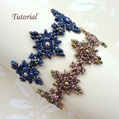 Beading pattern instructions - beadweaving tutorial beaded super duo or twin seed bead jewelry – beadwoven beadwork bracelet - TWIN DIAMONDS on Etsy, $5.50