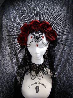 Empress Headdress Red Rose Crown / Black Spiked Halo / Crepuscular Halo / Day of the Dead / Black Veil Goth ~ Ready in 1 Week ~ U. Vampire Fashion, Gothic Fashion, Rose Crown, Fantasias Halloween, Lace Veils, Mystique, Halloween Disfraces, Velvet Ribbon, Dark Beauty
