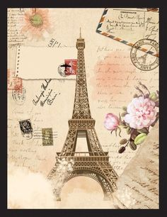 Old paper and Eiffel Tower